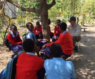 Patrick Galvin & Red Sweater Students in Tanzania